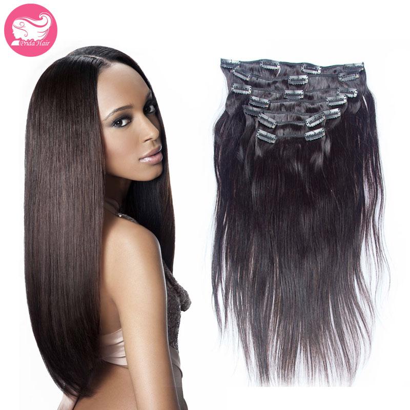 7A Natural Brazilian Clip In Straight Hair 7pcs/set 120g Unprocessed Human Virgin Brazilian Clip In Hair Extension Full Head Set<br><br>Aliexpress