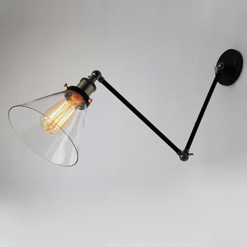 Vintage Industrial Wall Lamps Loft Swing Arm Wall Sconce Adjustable Warehouse Ambient Lighting ...