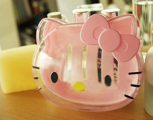 Kawaii Transparent Hello Kitty Soap Box,Soap Case,Bathroom Stuff Accessories for Bathroom Retail K6488(China (Mainland))
