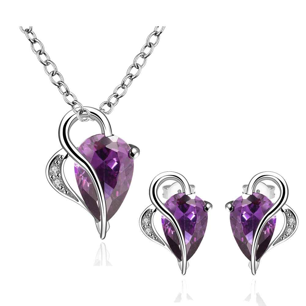 Best Friends Platinum Plated african jewelry set violet shine world withing you N+E Jewellry sets couponFBLS052(China (Mainland))