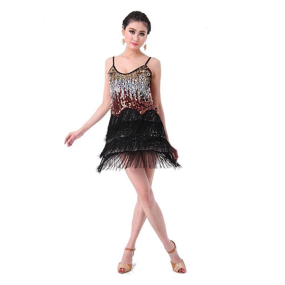 SEXY Shining Fringe Encrypted Tassels Latin Dance Dress Hand made CHACHA Skirt Lady Cocktail Club DanceWear