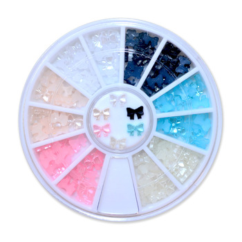 YZWLE 1 wheel 6 colors beauty nail art glitter decoration tools 3d bow tie pearl wheel nail supplies tools rhinestones for nails