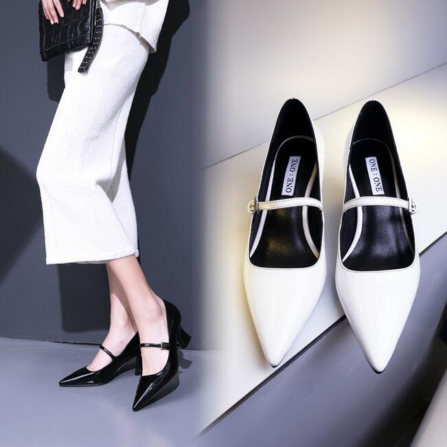 Фотография Top Quality Women Pumps Genuine Leather Pointed Toe Fashion Shoes Woman Patent Leather Buckle Strap Sexy Shoes Size 35-42