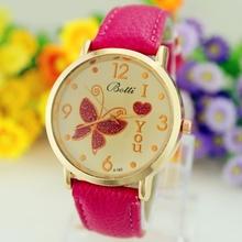 Relojes Mujer patrón de mariposa Relojes del cuarzo del cuero reloj deportivo Casual vestido de pulsera relogios feminino