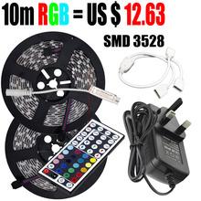 10 M ( 5 M + 5 M ) rvb 2835 Led Light Strip 60LED / M Light Strip non étanche + IR Controller + DC 12 V Power Adapter livraison gratuite(China (Mainland))