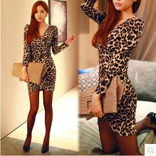 Fashion 2015 Vestidos Femininos Women Party Dress V Neck Sexy And Club Slim Full Sleeves Vestido Above Knee Mini Leopard Dresses