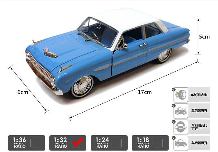 1:32 Ford falcon 1963 FORD futura model car(China (Mainland))