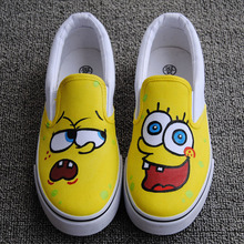 Men Shoes Women Hand Painted SpongeBob Yeezy Shoes Zapatos Mujer Chaussure Femme Zapatos Hombre Zapatillas Deportivas Shoe(China (Mainland))