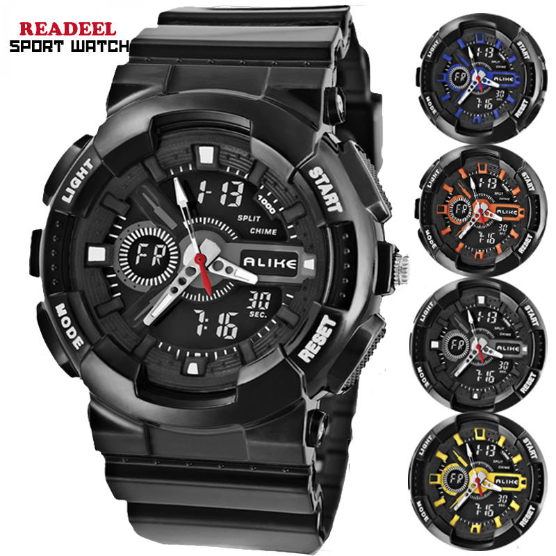 Dual Time Zone 50m waterproof Wristwatches for Men HOT Brand Quartz Digital el led Shockproof Sport Watches Sale wholesale(China (Mainland))