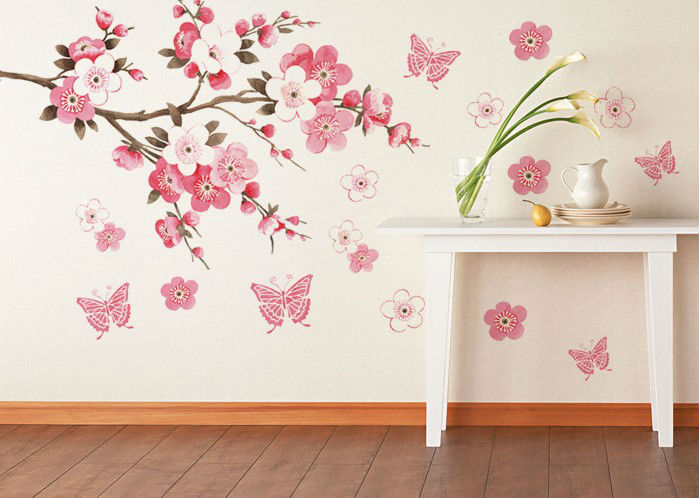 Pink flowers butterfly bathroom decor removable large wall stickers princess - Stickers et decoration ...