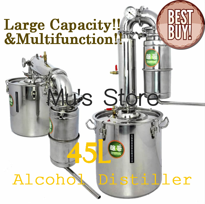 Large Capacity ! Household Stainless Steel Home Alcohol Distiller 45L Wine Brewing Device Spirits(Alcohol) Distillation Boiler(China (Mainland))