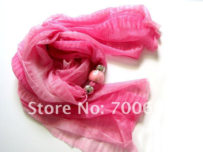 multicolor beads Pendant Necklace Scarves shawl wraps pashmina Summer Women Scarf mixed colors wholesale original factory supply(China (Mainland))