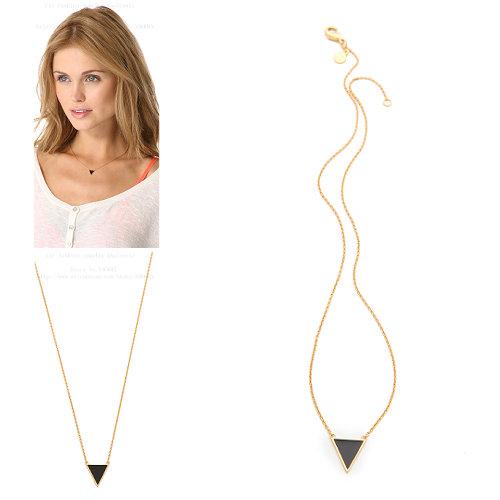 Black enamel triangle pendant necklace(China (Mainland))