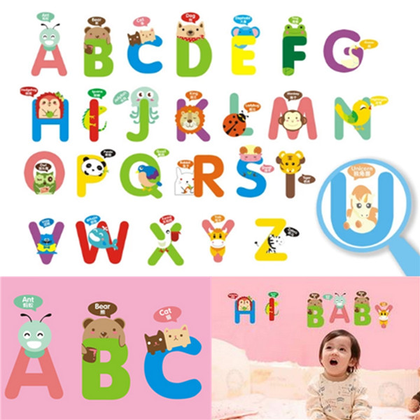 Brand New Cute Lovely 26 Alphabets Animals Wall Decal Removable Stickers Kids Baby Art Mural Home Decor water resistant