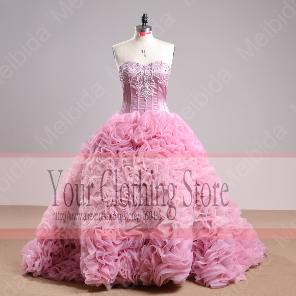 Beaded Sweetheart Ruffles Luxury Hot Pink Quinceanera Dresses Real Sample 2015 Ball Gown Vestidos De 15 Anos RQ2 - Your Clothing Store store