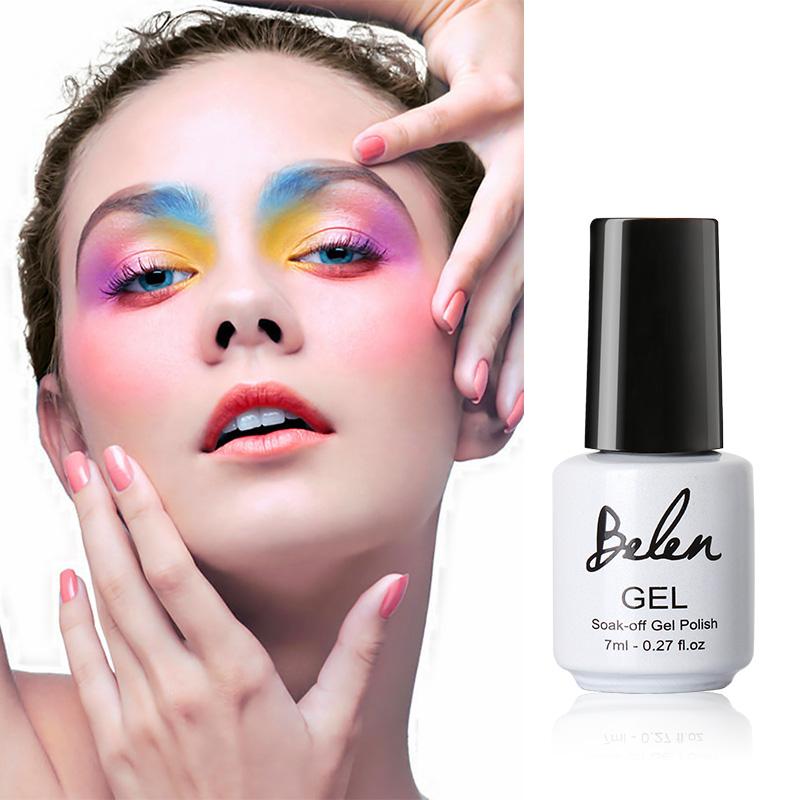 Belen 7ml Soak Off Gel Nail Polish UV LED Nail Gel Polish Gel Lak Varnishes Gelpolish UV Top Base to UV Gel Color Nail Polish(China (Mainland))