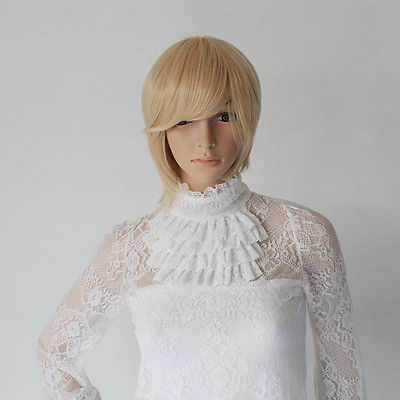 NEW Women Blonde Gold Short Straight Hair Wig Side Bang Model Cosplay Party for women wig fast deliver 26% discount(China (Mainland))