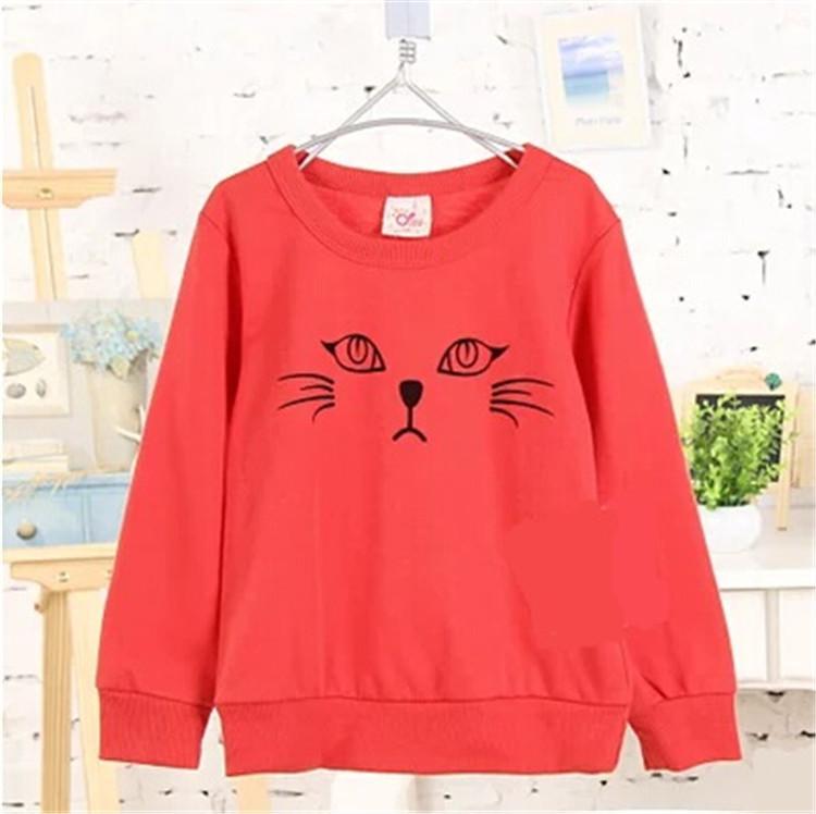 2015 spring and autumn cartoon cat pattern boys sweatshirt girls outerwear baby pullover sweatshirt A0009(China (Mainland))