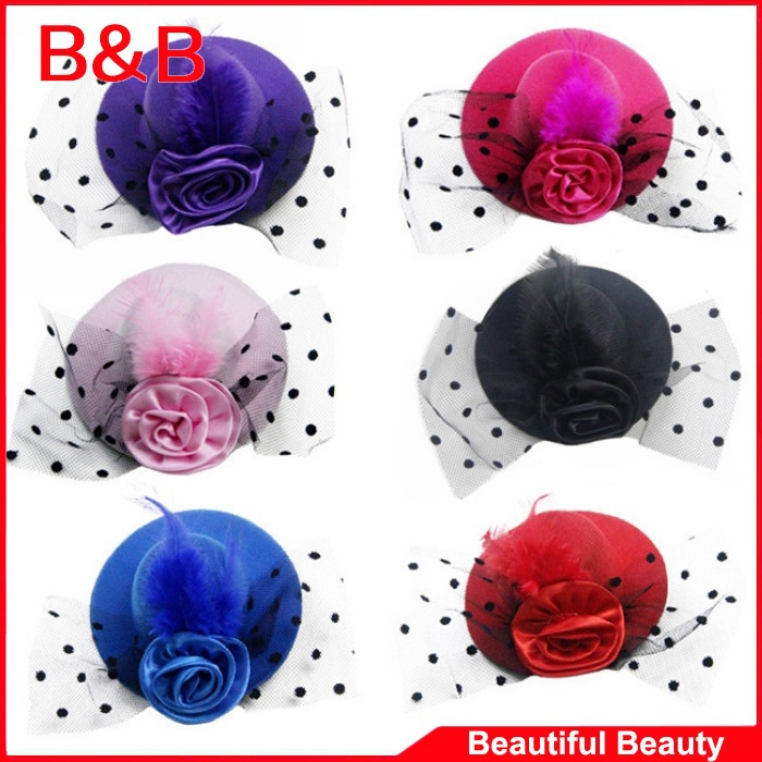 2014 New Hair Clips Girl Feather Rose Mini Top Hat Fascinator Party Costume Fashion Baby Flower Hair Accessories(China (Mainland))