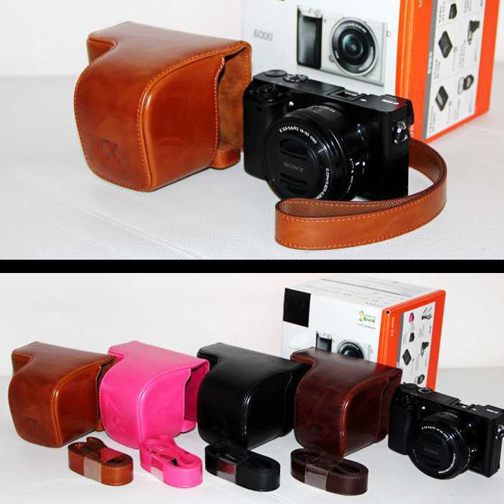 Free Shipping NEW Brown Camera Leather Case Cover For Sony A6000 NEX6 16 50mm lens with strap