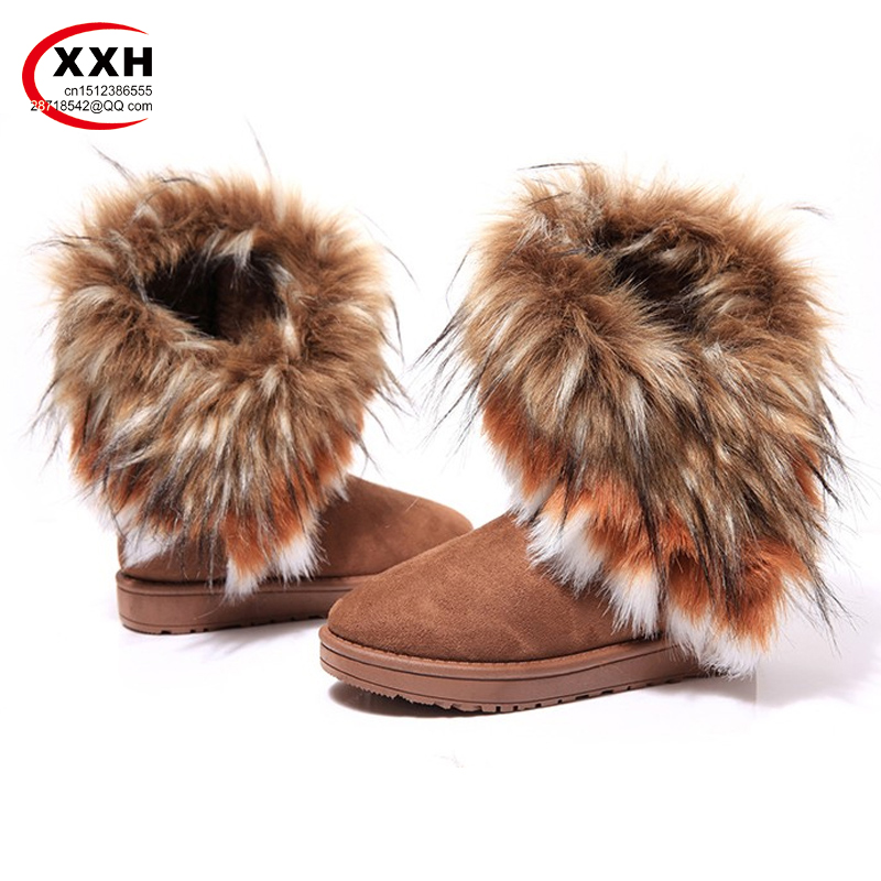 XXH New Winter Fur Imitation Fox Fur Rabbit Hair Cotton Boots Snow Boots Warm Shoes for Women Girl Shoes Wholesale Manufacturers(China (Mainland))