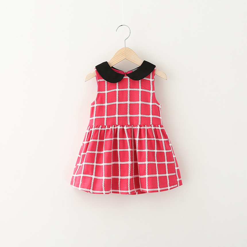 Baby Girls Autumn Plaid Dress Casual Princess Style Clothes Turn-down Toddler Kids Sleeveless Ruched Children Clothing 5pcs /LOT<br><br>Aliexpress