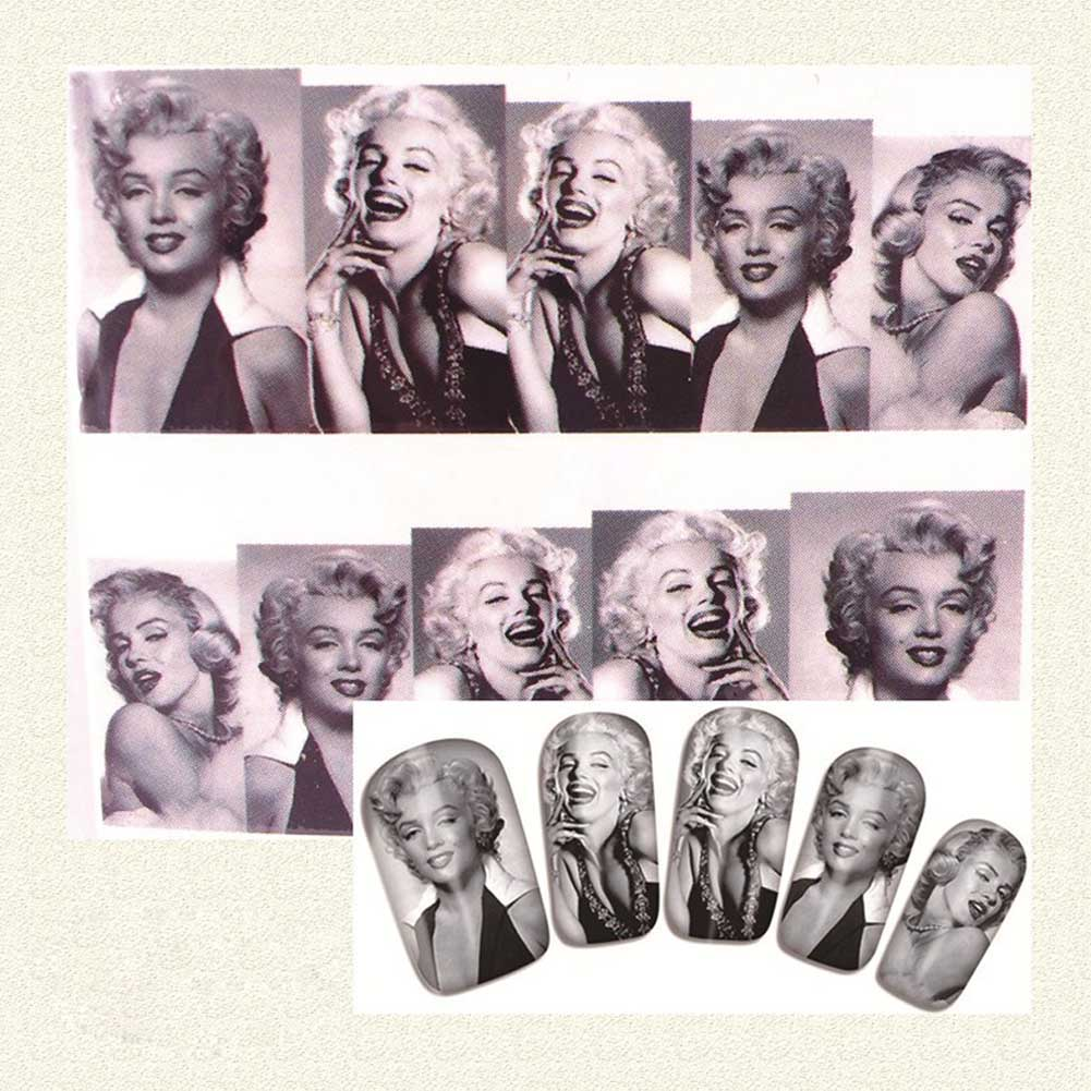 Hot Sale Marilyn Monroe Image Speciific Stylish Plum Blossom Nail Art Water Decals Transfer Stickers Free Shipping(China (Mainland))