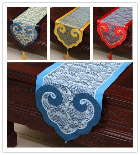 3 sizes Modern Mixed Silk&Brocade Lucky Cloud 4 colors Table Runner Bed Flag with handmade charm tassel(China (Mainland))