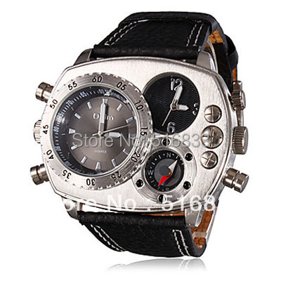 Olum Men's Campass Style PU Analog Multi-Movement Quartz Wrist Watch 2 Time Zone Black - Kissgift store