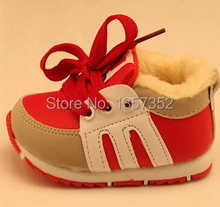 Free shipping 2014 new autumn and winter plus velvet baby shoes toddler shoes soft bottom non-slip padded lace baby thicken(China (Mainland))