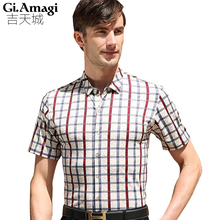 Buy 2016 Summer men's short sleeve shirts men Lattice printing casual shirt Slim Collar shirts Men Slim Plaid Shirts Male Plus Size for $14.32 in AliExpress store