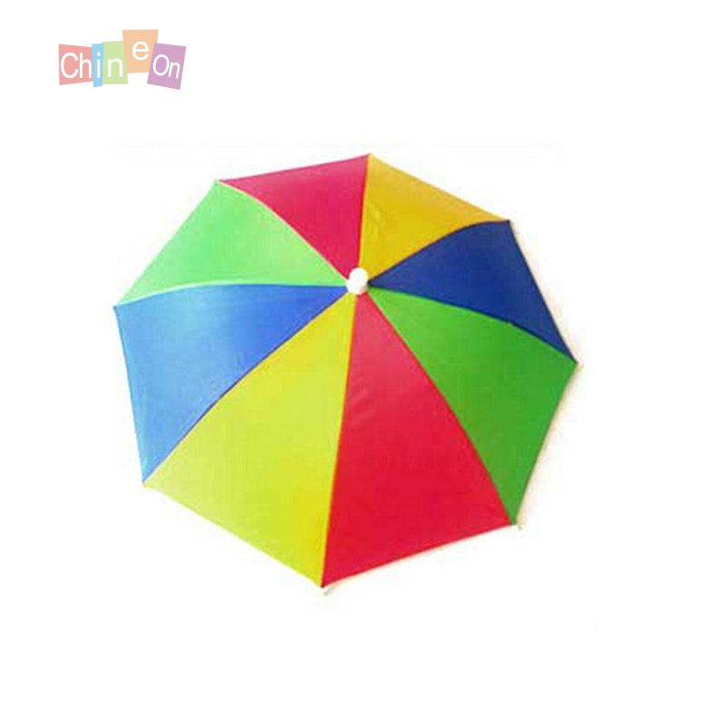 1Pc Foldable Sun Rain Umbrella Hat Golf Fishing Camping Outdoor Headwear Head Hats(China (Mainland))