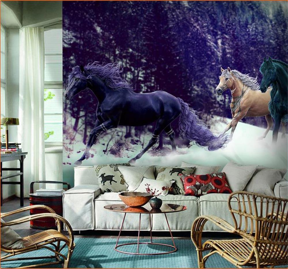 3d wallpaper custom photo hd mural beautiful horses for Custom photo mural