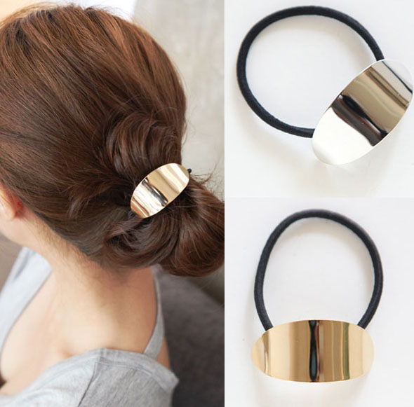 New Arrival Fashion Korean Rock Hair Accessories Gold Plated Metal Glaze elastic Hairbands for women XF708(China (Mainland))