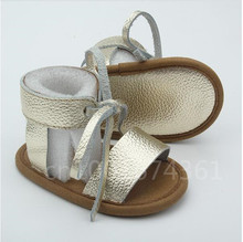 Wholesale 100 pairs/lot New Fashion baby Summer Genuine Leather Baby shoes lace up Baby moccasins Anti-slip soft soled shoes(China (Mainland))