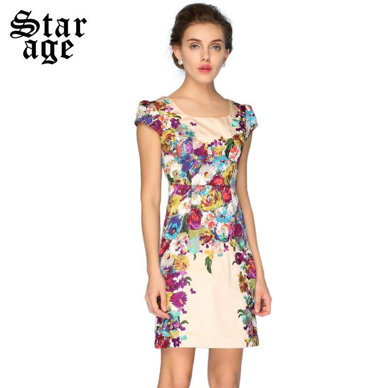 S M L XXXL Brand Women Floral Embroidery Dress Elegant Short Sleeve Silk Dresses Summer Fashion Plus Size Ladies Clothing 1118(China (Mainland))