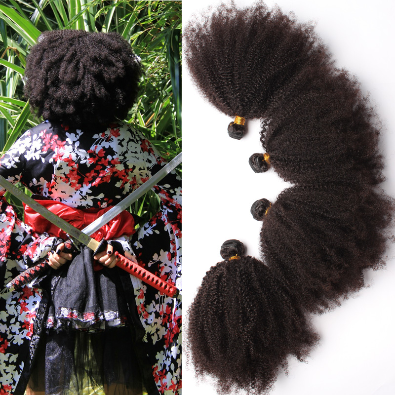 6A Virgin Brazilian Afro Kinky Curly Hair 4Pcs Kinky Curly Virgin Human Hair Extensions Rosa Hair Products Natural Black Hair