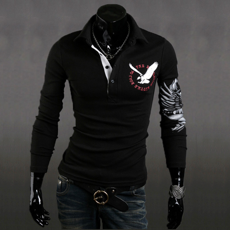 2015 Fashion New Long Sleeve Shirts Men,Brand Quality Spring&Summer Casual Shirts,Three Color Eagle Plated Drop&Free Shipping011(China (Mainland))