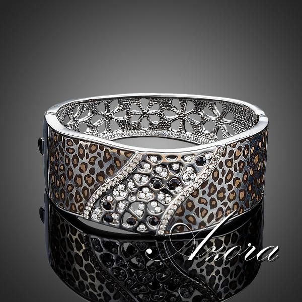 AZORA White Gold Plated Luxury Party Jewelry Stellux Austrian Crystal Cuff Leopard Bangle Bracelet TB0076<br><br>Aliexpress