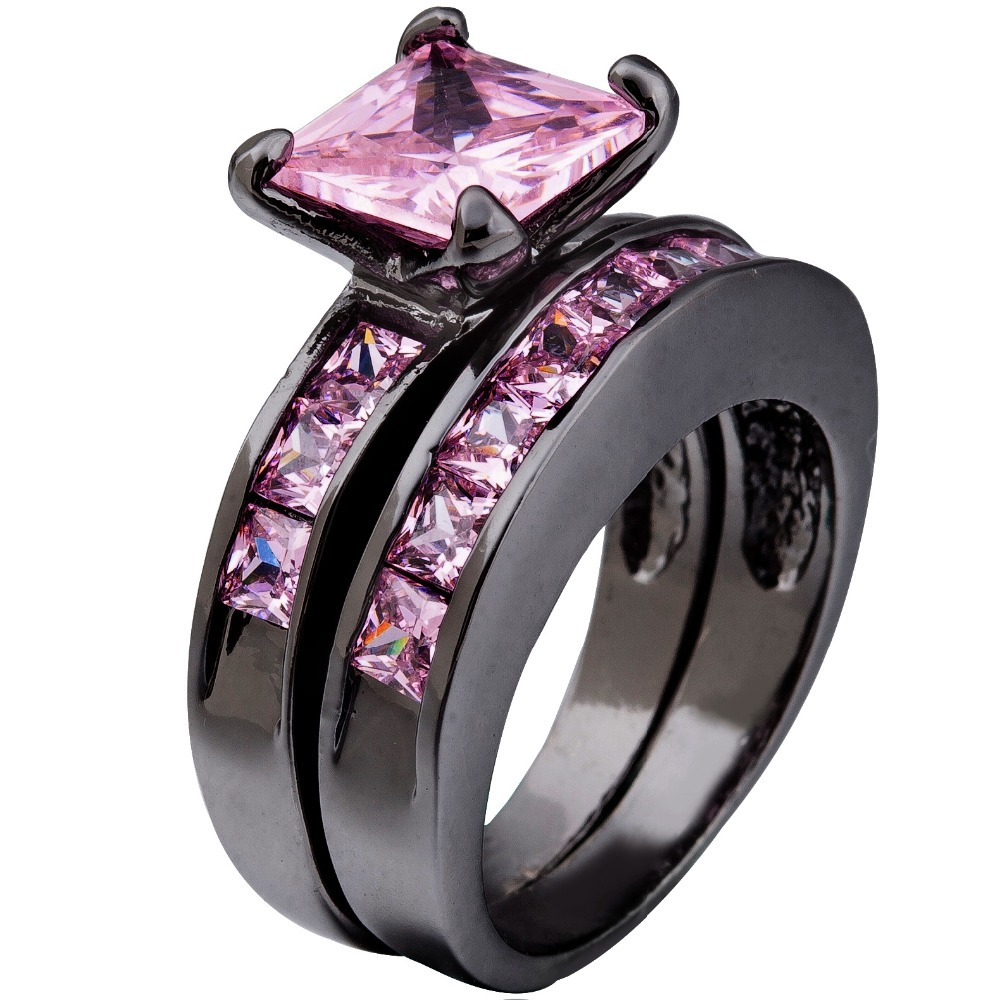 Size 511 Black Rhodium Pink Stone Crystal Wedding Engagement Princess Cut Ring  Band Set Pair Propose Bridal Halo Mother's Gift
