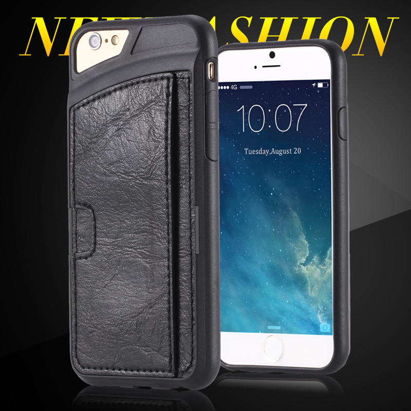 For iPhone6 4.7 Deluxe Artificial Leather+Flexible Rubber Neoprene Back Case with Card Insert Slim Soft Phone Cover For iPhone 6(China (Mainland))