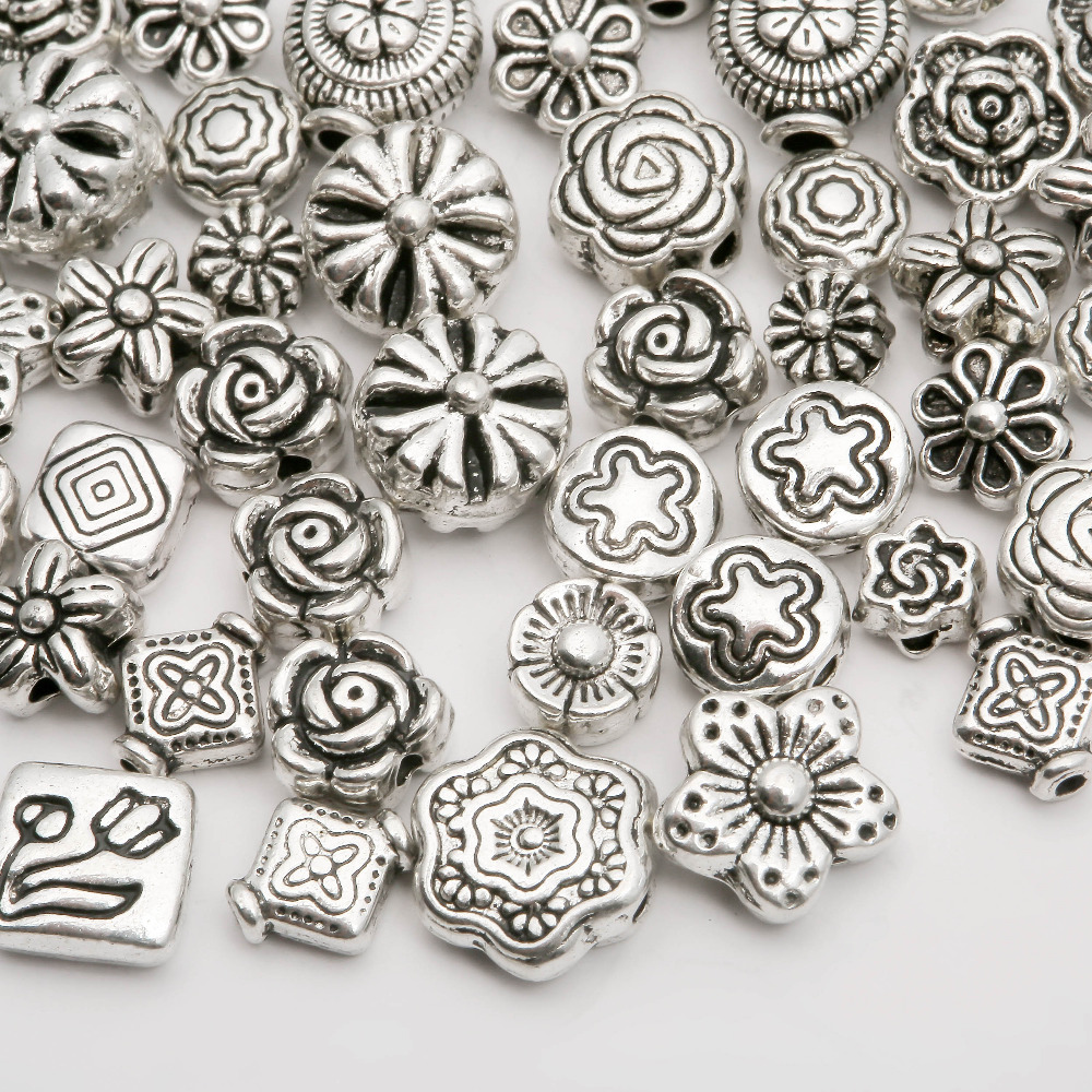 Metal Silver Plated beads Mix Size Zinc Alloy Flower Spacer Beads charm For DIY Jewelry Bracelet (70-80 pcs)(China (Mainland))