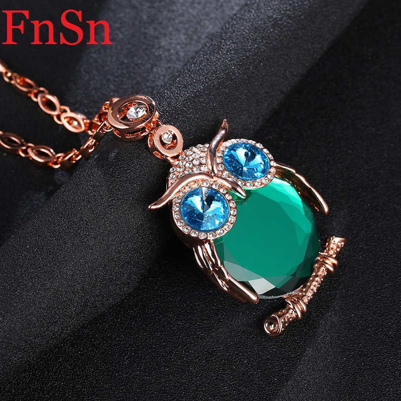 Owl Necklaces&Pendants Women Trendy Crystal Charms Chokers Collar Necklace Gold Color Link Chain Animal Necklaces 2017 New Hot(China (Mainland))