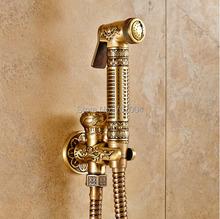 Top-grade parete in ottone montato wc spruzzatore rubinetto antico singolo foro bagno di pulizia mop rubinetto bidet rubinetto(China (Mainland))