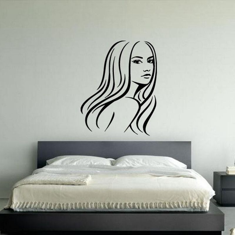 Hair salon sticker beauty scissors decal haircut name posters vinyl wall art - Decoration mural salon ...