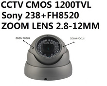 DHLEMS Free Shipping:CCTV Sony 1200TVL CMOS LENS Zoom 2.8-12MM Dome Camera IR CUT Intelligent Switch Outdoor Waterproof Camera(China (Mainland))