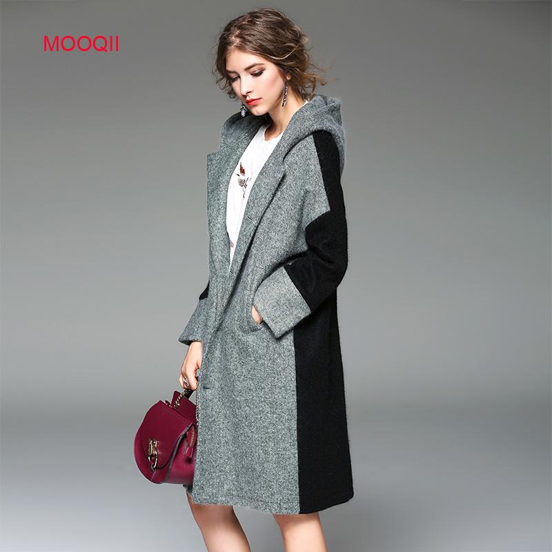 MOOQII Wool Coats High Quality Winter Jacket Women Slim Warm Woolen Long Hoodie Cloak Cashmere Coat Cardigan Jackets Outerwear(China (Mainland))
