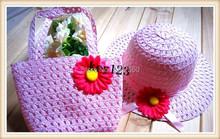 Free Shipping Kids Girls Flower Straw Beach Hats Bags Hats Cap and Tote Handbag Bag Suit Children Summer Sun Hat(China (Mainland))