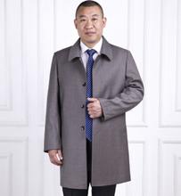 2016 New fashion mens coat long trench jacket plus size turn down collar mens outerwear coats dropship(China (Mainland))