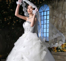 Hot Selling Free Shipping New Double Wedding Veil the Bridal Veil Without Comb Lace 2016(China (Mainland))